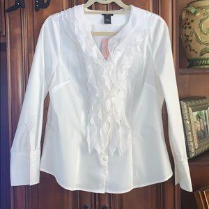 NWT Classy Ann Taylor White Button ruffle blouse